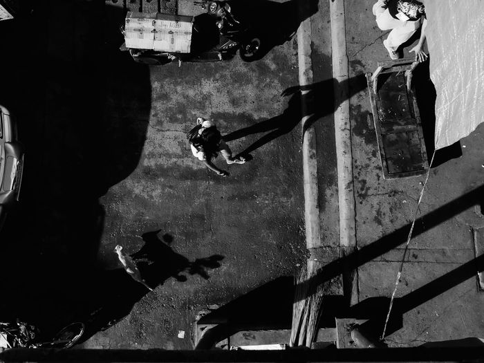 High angle view of woman on street