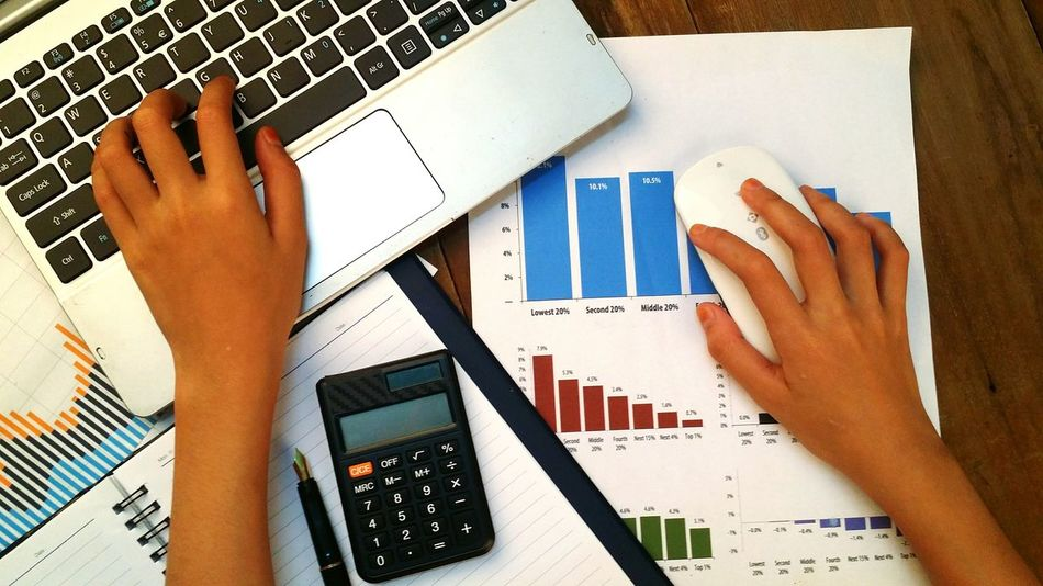 Hand on keyboard and mouse with graph, chart on wooden table Wealth Market Laptop Keyboard Mouse Graph Chart Business Wood Document Money Growth Plan Life Success Invest Data Accounting Economic Analyze Banking Financial Economy Diagram Stock