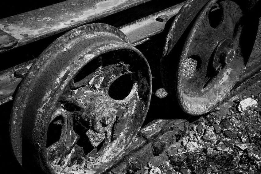 Abandoned Close-up Damaged Day Deterioration Iron - Metal Land Vehicle Metal Mode Of Transportation No People Obsolete Old Rail Transportation Railroad Track Run-down Rusty Track Train Transportation Wheel