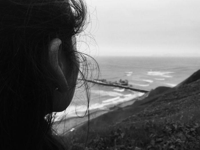 Black Hair Women Sea Black & White Beach Beauty In Nature