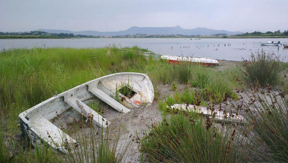 Corfu Town Korfu Stadt Boot Lake Riverbank Boat Wrack Wreck Korfu Corfu