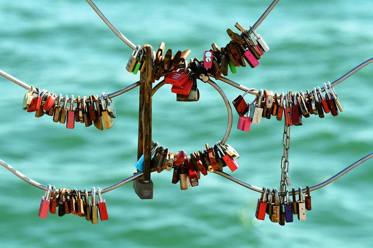 Focus On Foreground Hanging Locks Of Love Outdoors Representing Shapes And Forms Symbol Of Love <3 U-Lock Wallpaper