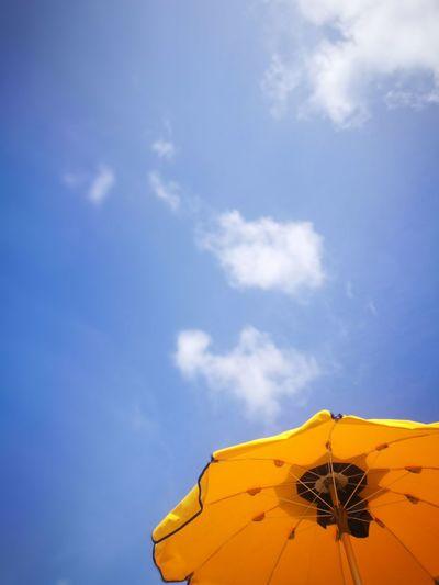 Yellow Beach Blue Sky Vacations Holidays Yellow EyeEm Selects Sand Dune Blue Tent Summer Sky Cloud - Sky EyeEmNewHere