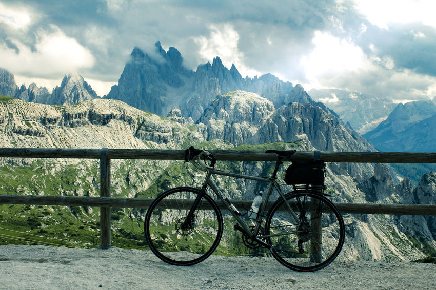Beauty In Nature Bicycle Cloud - Sky Day Landscape Mode Of Transport Mountain Mountain Range Nature No People Outdoors Scenics Sky Transportation An Eye For Travel