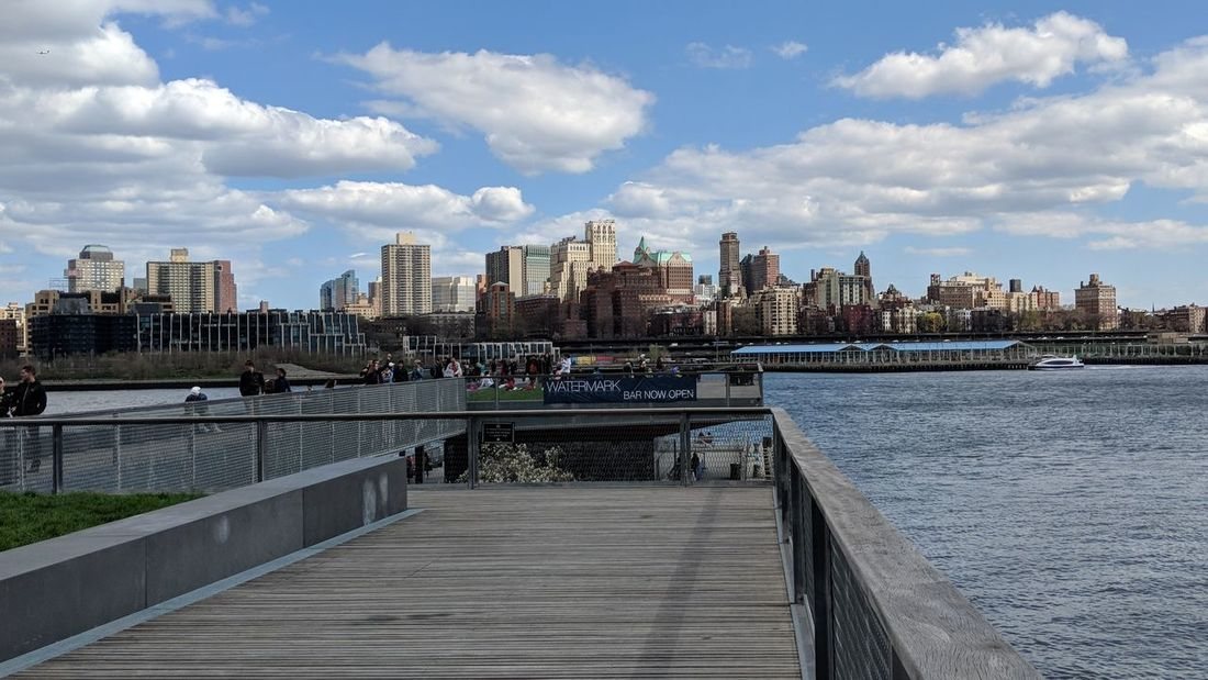 View of Brooklyn, NY from Pier 15 in NYC Brooklyn New York New York City East River Beautiful Sky Perfect Weather Travel Travel Photography Travel Blogger Good Times Followme Pixelxl2 City Cityscape Urban Skyline Skyscraper Modern Water River Sky
