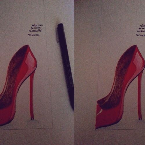 Drawing Byme Shoes Decoltè rosso red brown