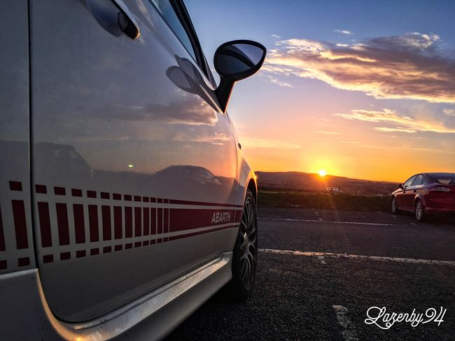 Abarth Abarth500 Sun Sunsetting Whitby Whitby Church Blue Sky AbarthOnly Abarthisti Relfection Reflection_collection Shiny Car