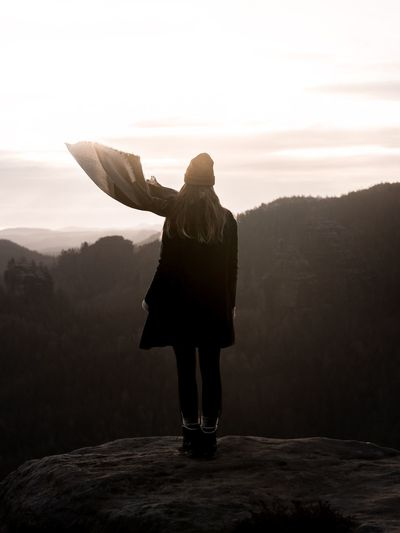 Wandering Wander Wanderlust Girl In Nature Looking At View Adventures Adventure Mountain View Saxony Saxon Switzerland Backgrounds Natural Beauty Beautiful Sunset One Person Real People Lifestyles Leisure Activity Rear View Full Length Standing Sky Nature Beauty In Nature Women Warm Clothing Clothing Cold Temperature Young Adult Non-urban Scene