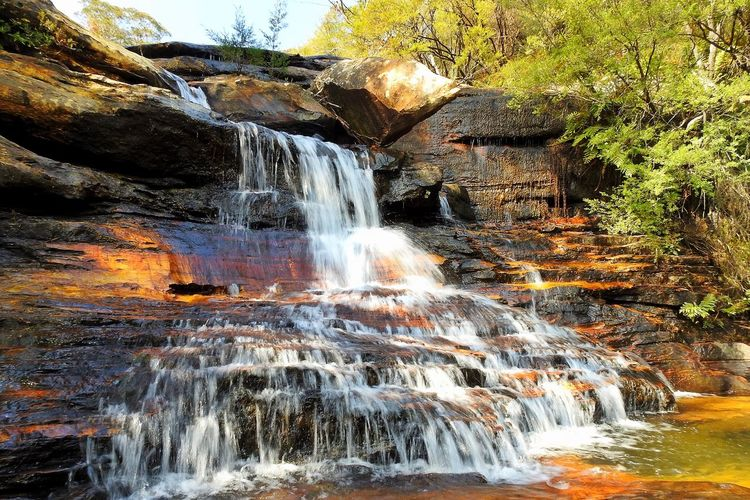 Waterfall Water Flowing Water Motion Nature Long Exposure Scenics Rock - Object No People River Beauty In Nature Outdoors Stream - Flowing Water Tranquil Scene Day Tranquility Rapid Tree Sky Australia Australian Landscape