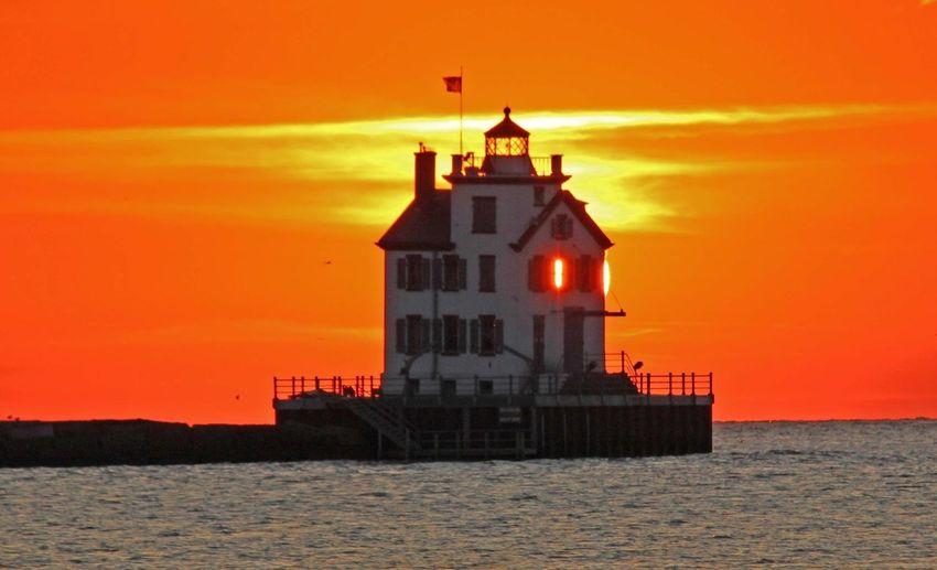 Lorain Lighthouse Sunset Sun_collection
