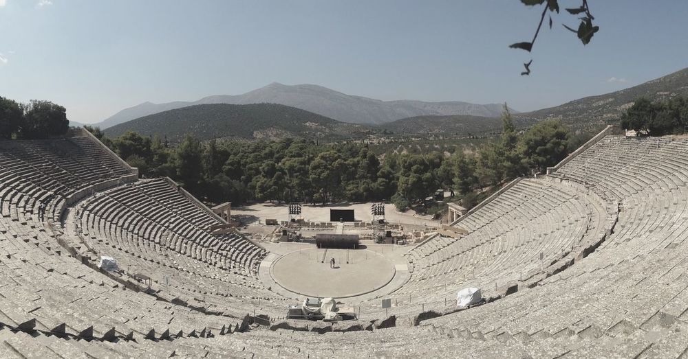 High angle view of the great theatre of epidaurus against sky