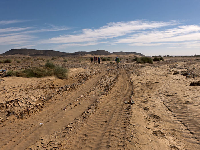 Hike through the Sahara desert in southern Morocco near Tafraout Sky Land Landscape Environment Nature Day Scenics - Nature Desert Climate Arid Climate Morocco Hiking Sahara Sand Gravel Africa Dirt Road Tranquil Scene Dirt Road Mountain Tire Track