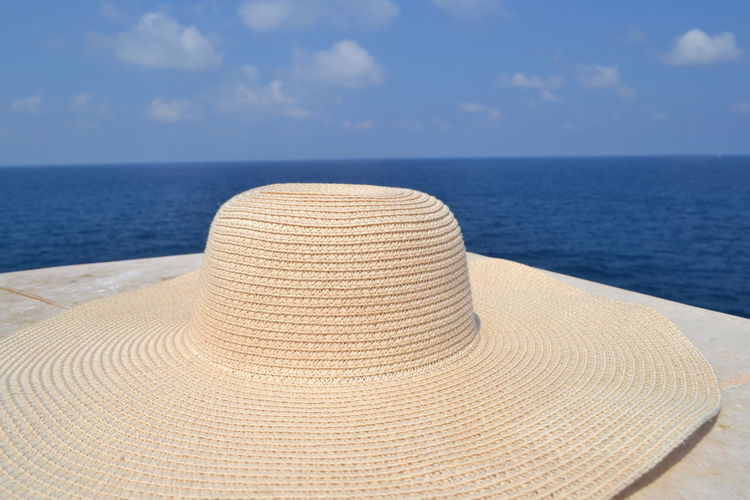 Mediterranean  Relaxing Summertime Beach Beauty In Nature Cloud - Sky Day Hat Horizon Horizon Over Sea Horizon Over Water Land Nature No People Outdoors Scenics - Nature Sea Silence Of Nature Sky Summer Sun Hat Sunlight Tranquil Scene Tranquility Water