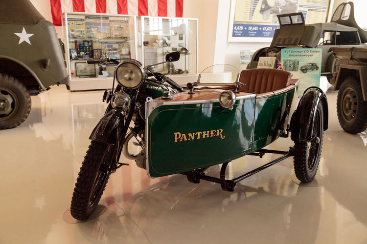Santa Ana, CA, USA - January 21, 2017: Steve McQueen's Green 1931 Panther motorcycle with sidecar displayed at the Lyon Air Museum in Santa Ana, California, United States. It was used during World War II. Editorial use only. 1931 Day Land Vehicle Lyon Air Museum Mode Of Transport Motorcycle No People Panther Panther Motorcycle Sidecar Sidecar Motorcycle Steve McQueen Transportation Vintage Vintage Motorcycles