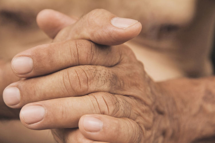 Close-Up Of Woman With Hands Clasped