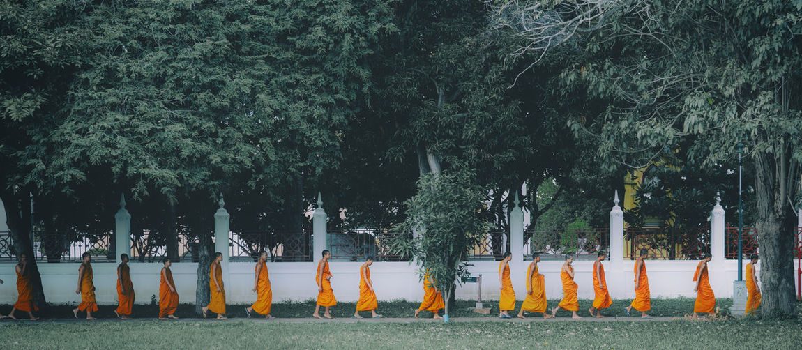 Phra nakhon si ayutthaya, thailand neophytes as children monk like alms round in temple