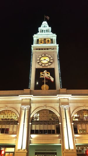 The Ferry Building Lights Celebrate Super Bowl SB50 Sightseeing Taking Photos Enjoying Life January : Showcase Sanfrancisco Urbanphotography Tourists Historical Sights
