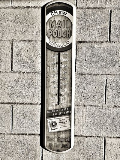Communication Text No People Day Close-up Outdoors Monochrome Photography Vintage Antique Thermometer Advertising Tobacco