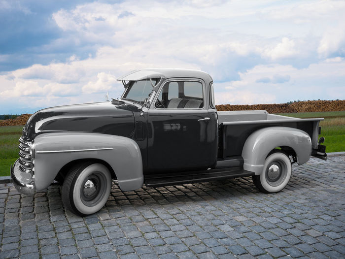 American classic car in light grey and dark grey with cabin and loading area Classic Car Cloud - Sky Dark Grey Day Grey Land Vehicle Light Grey Mode Of Transportation Motor Vehicle Nature No People Old Oldtimer Outdoors Parking Pick-up Pick-up Truck Retro Styled Side View Sky Street Transportation Two-tone Vintage Car