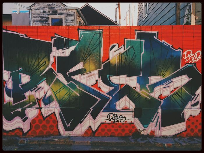 Color lines in the bay. Graffiti The Mission Writing On The Walls Street Art
