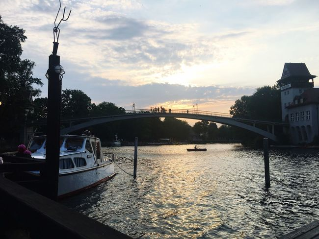 Bridge Boat Sky Water Architecture Cloud - Sky Building Exterior Nature Built Structure Day Sunset River
