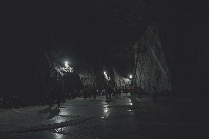 Dark Enjoyment Illuminated Leisure Activity Lifestyles Lighting Equipment Non-urban Scene Parajd Person Praid Salt Salt Mine Saltmine  Tourism Tranquility Transylvania