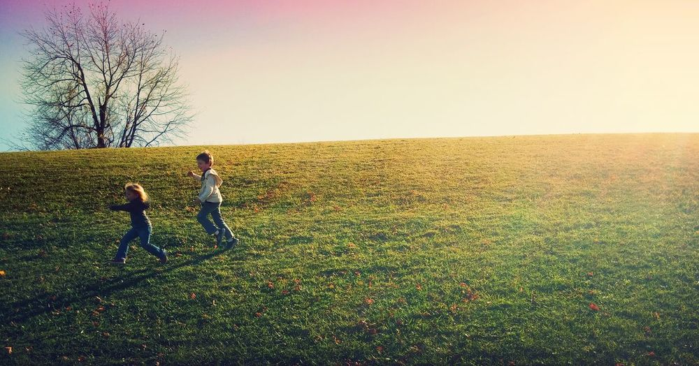Kids Having Fun Brother & Sister West Bloomfield, Michigan Marshbank Park Kids Being Kids Kids Playing Outside Playing Tag