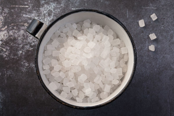A cup of crystal sugar Close Up Crystal Culinary Directly Above Food Ingredient Isolated Sugar Sweet Sweetener Top View
