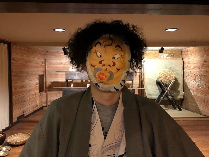 ひょっとこオジサン Japanese Mask Portrait Front View Indoors  One Person Headshot Adult Lifestyles Fun Real People Hairstyle Young Adult Humor Human Face