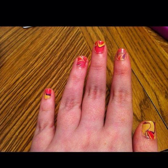 First time ever trying water marble Nails Nail Art Nail Polish Nail Fanatic