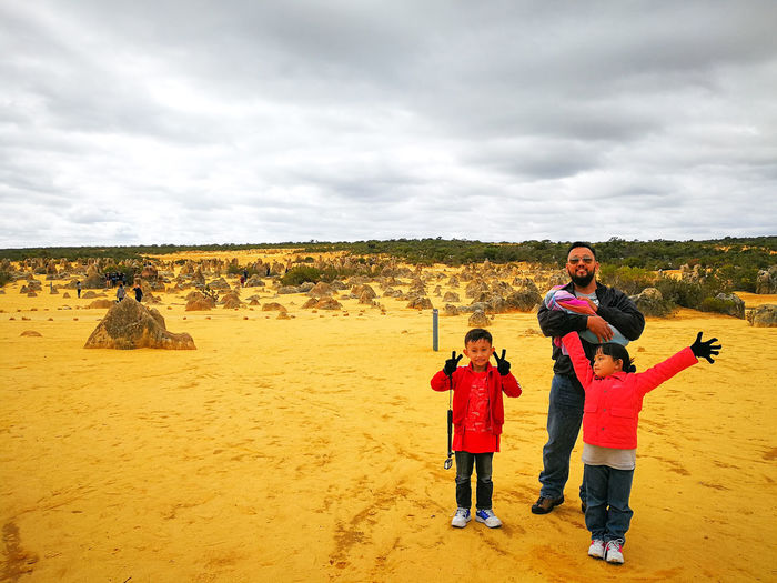 Asian family is having fun at the Pinnacle National park desert during winter season at Western Australia. Winter Pinnacles National Park Pinnacles Desert Pinnacles Family Asian Family Asian People Malay Desert Deserts Around The World Desert Asian  Australia Cervantes Family Perth Perth Australia Travel Travel Photography Traveling Travelling Western Australia Spring Springtime Travel Destinations Traveler Travelphotography Childhood Togetherness Child