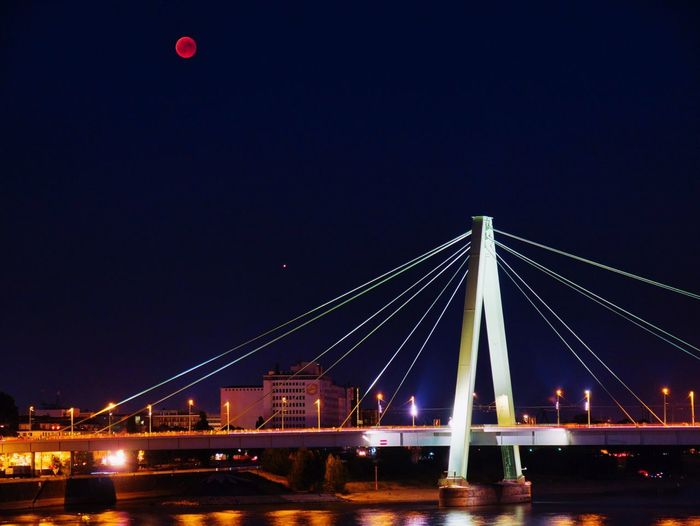 Moon Mars and a bridge Moon Eclipse Blood Moon Built Structure Night Architecture Bridge Engineering Bridge - Man Made Structure Illuminated Water Sky River City
