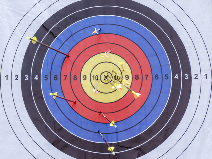 Archery Target Capture Tomorrow Sports Target Circle Sport Geometric Shape Accuracy Shape Target Shooting Archery Aiming Achievement Arrow - Bow And Arrow Multi Colored No People Success Aspirations Competition Business Concentric Scoring Close-up Arrow Object Focus Circle