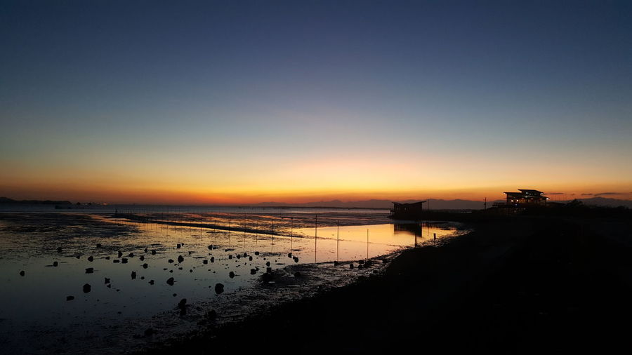 coastal sunset Water Sea Sunset Beach Silhouette Reflection Low Tide Sky Horizon Over Water British Culture