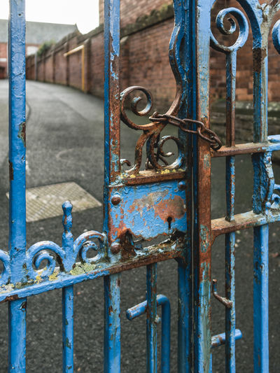 No entry ... Micro Four Thirds M43 No Entry Architecture Blue Building Exterior Built Structure Chain Close-up Day Door Doorway Gate Latch Lock Metal No People Outdoors Padlock Protection Rusty Safety Security Weathered Wrought Iron
