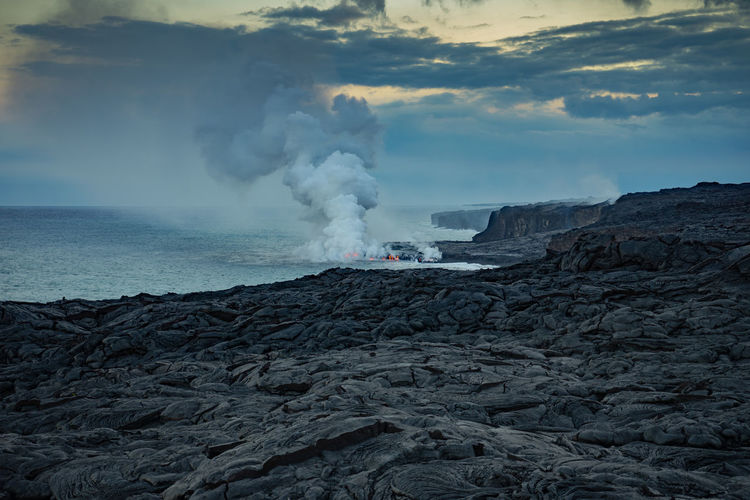 Smoke - Physical Structure Geology Volcano Power In Nature Beauty In Nature Erupting Physical Geography Land Power Nature Water Sky Environment Mountain Non-urban Scene Lava Heat - Temperature Rock Landscape Emitting No People Outdoors Volcanic Crater Pollution Hawaii EyeEmNewHere