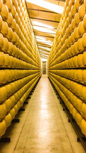 Parmeggiano Factory near Modena Parmesan Cheese Cheese Indoors  Architecture Building Yellow No People Industry Large Group Of Objects