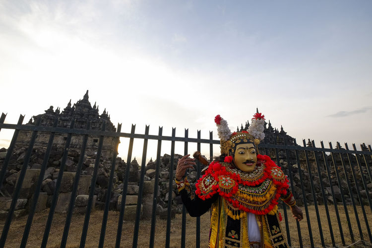 The mask dance in plaosan temple Bali Holiday Tradition Travel Vacations Architecture Budhist Temple Building Ceremony Culture Destination History Human Representation Mask Mask Dance Nature Ornate Outdoors Religion Representation Sculpture Sky Temple Tourism Travel Destinations