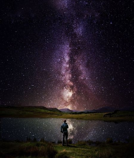 """Milky Reflections"" Night Star - Space Beauty In Nature Water Scenics - Nature Sky Astronomy Space Galaxy Star Nature Outdoors Tranquil Scene Lifestyles Space And Astronomy Standing HUAWEI Photo Award: After Dark"