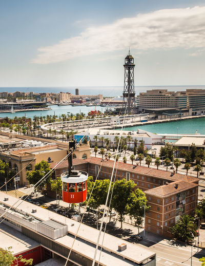 Cable car in the harbour area of Barcelona. Barcelona Bubble Lift Cable Car Cable Cars Cable Car Tracks Harbour Cable Car Station Capsule City Cityscape Cloud - Sky High Angle View Nautical Vessel Sea Sky Transportation Water