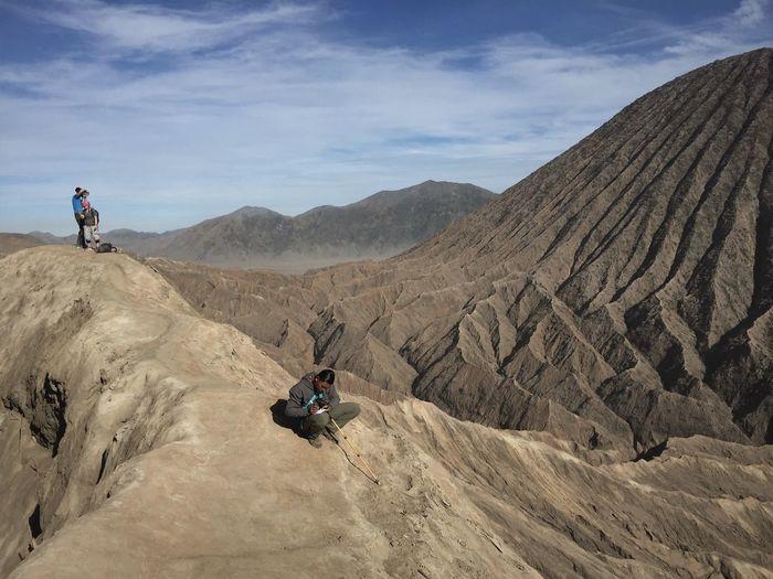 People on mountain range