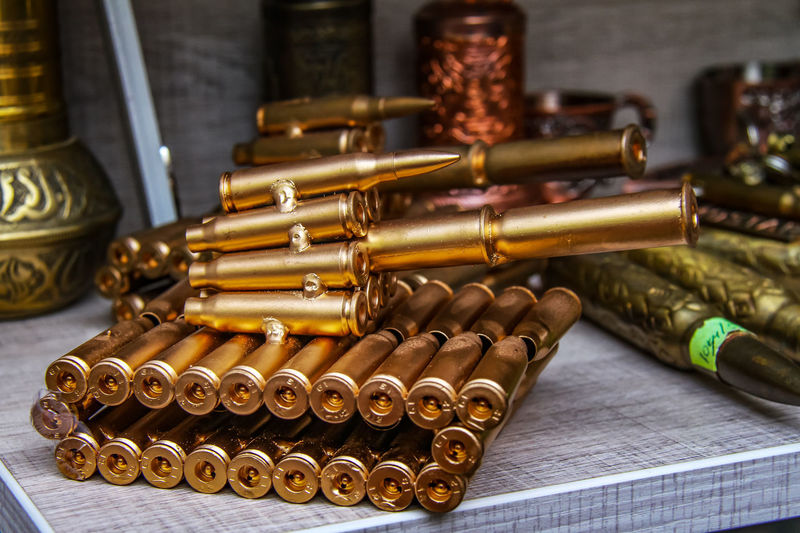 Close-Up Of Ammunition Decoration On Table