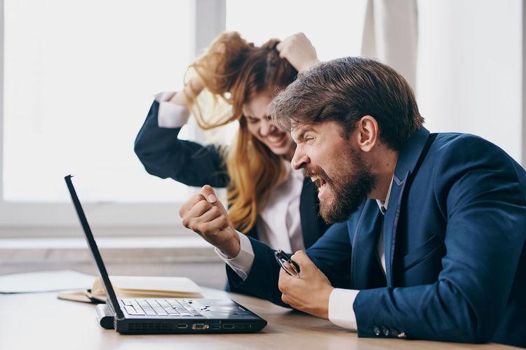Man working in laptop