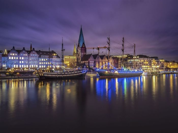 Bremen HUAWEI Photo Award: After Dark Schlachtezauber Architecture Building Building Exterior Built Structure City Cityscape Cloud - Sky Dusk Harbor Illuminated Nature Nautical Vessel Night No People Outdoors Passenger Craft Purple Reflection Sailboat Sky Travel Destinations Water