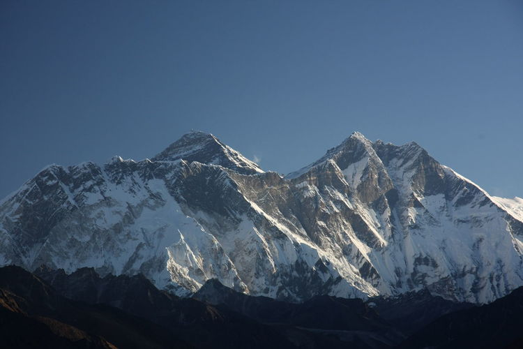 Scenic view of snowcapped mountains against clear blue sky mt. everest