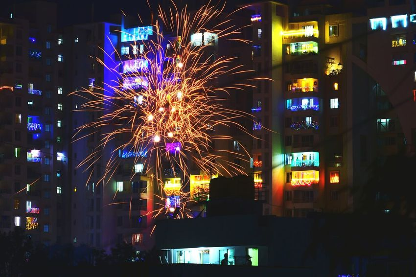 Diwali fireworks City Illuminated Multi Colored Cityscape Arts Culture And Entertainment Celebration Nightlife Architecture Building Exterior Firework