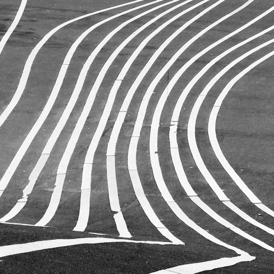 Striped Curve Sports Track Backgrounds Day No People Outdoors