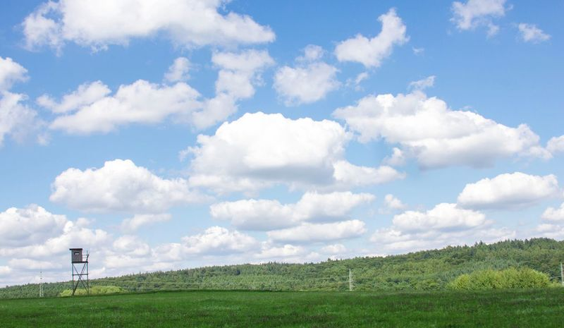 Sky Cloud - Sky Nature Green Color Field Beauty In Nature Day Tranquility No People Tranquil Scene Scenics Landscape Grass Outdoors Growth