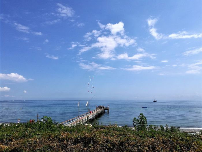 ostermade seebrücke Beach Beauty In Nature Cloud - Sky Day Horizon Over Water Moored Nature Nautical Vessel No People Ostermade Outdoors Scenics Sea Seabridge Seebrücke Sky Tranquil Scene Tranquility Transportation Water