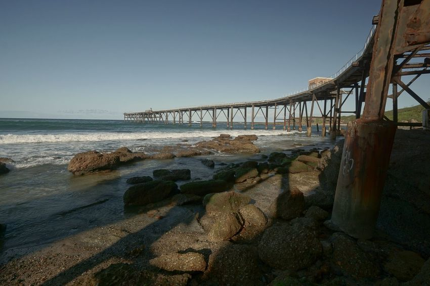 Sea Beach Sky Water Shadow Clear Sky Nature Tranquil Scene Wave Nature Photography Visitcentralcoast Scenics Natural Beauty Bridge - Man Made Structure Day Vi Outdoors Horizon Over Water